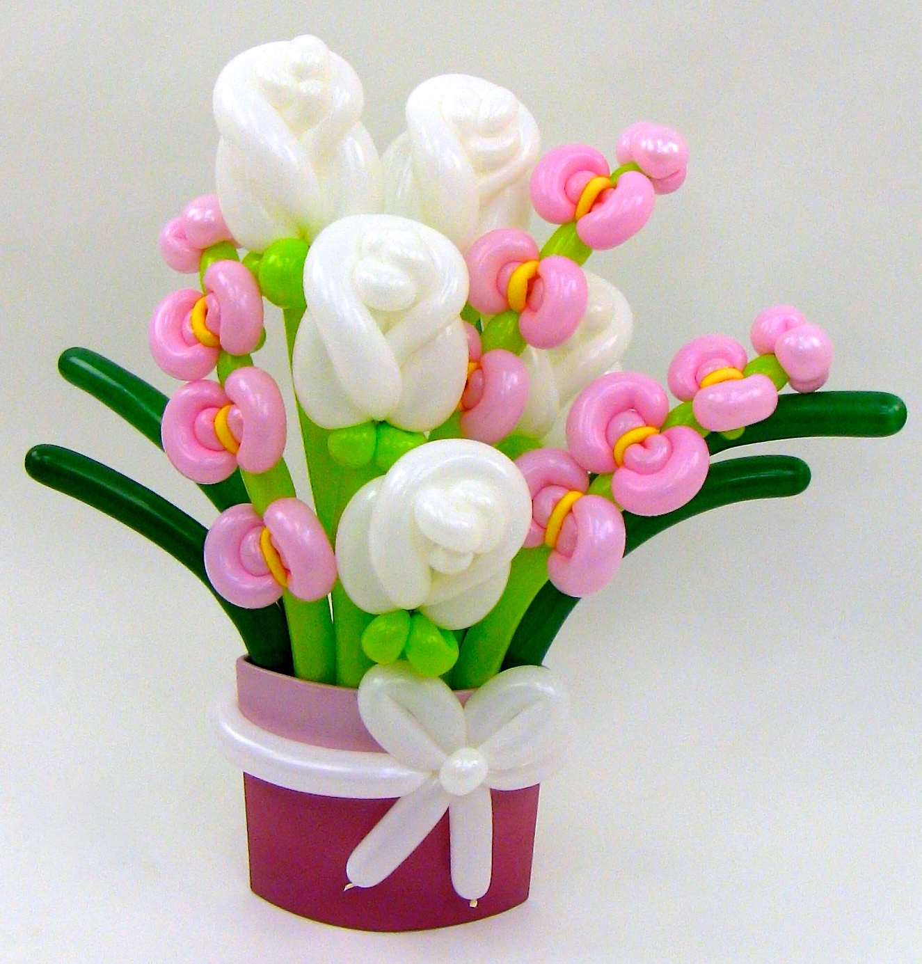 White Rose & Pink Orchid Flower Balloon Bouquet | BALLOON ANIMALS ...